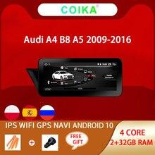 Autoradio Android 10.0, 2 go/32 go RAM, navigation GPS, BT, commandes au volant, AUX, wi-fi, écran tactile IPS, système audio, pour voiture Audi A4, B8, A5 (09-16)