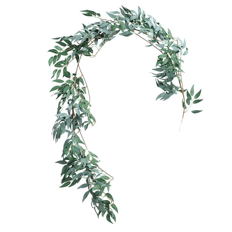 160 см Потолочный декор road макет ротанга джунгли вечерние свадебные украшения Зеленые искусственные цветы запасами ивовых деревьев венок из...