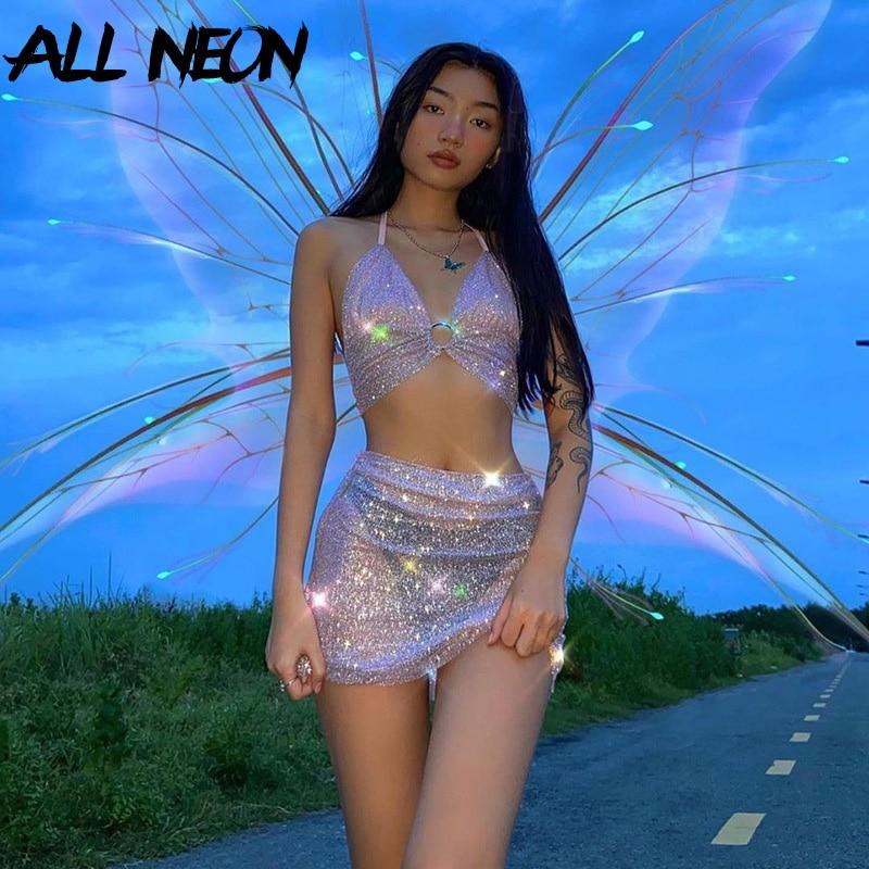 ALLNeon-Conjunto de 2 piezas formado por Top y minifalda, ropa de calle de 2000s, Top ajustado, Top ajustado, con purpurina