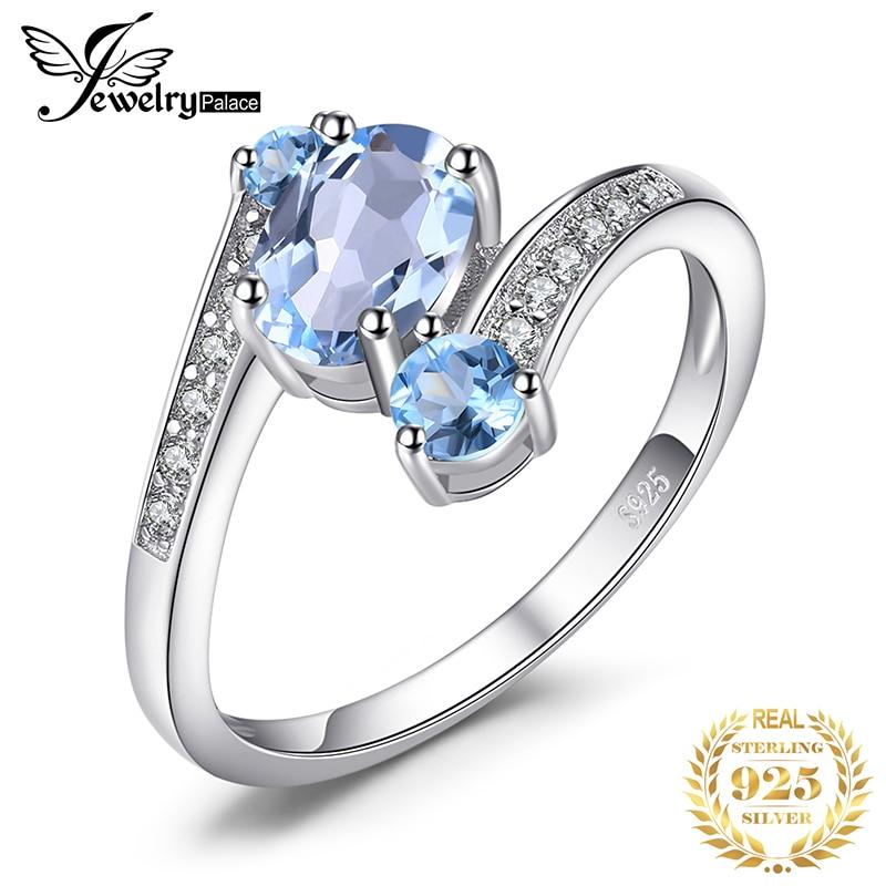 Jewelrypalace 3 pedras genuíno azul topázio anel 925 prata esterlina anéis para mulheres anel de noivado prata 925 pedras preciosas jóias
