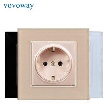 Vovoway 電源コンセント強化ガラスパネル AC110V 250V 16A eu 標準ソケット