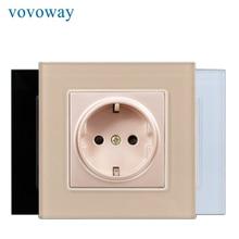 Vovoway Power Stopcontact Gehard Glas Panel AC110V 250V 16A Eu Standaard Stopcontact