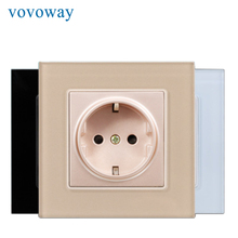 Vovoway power wall socket tempered glass panel AC110V 250V 16A EU standard socket