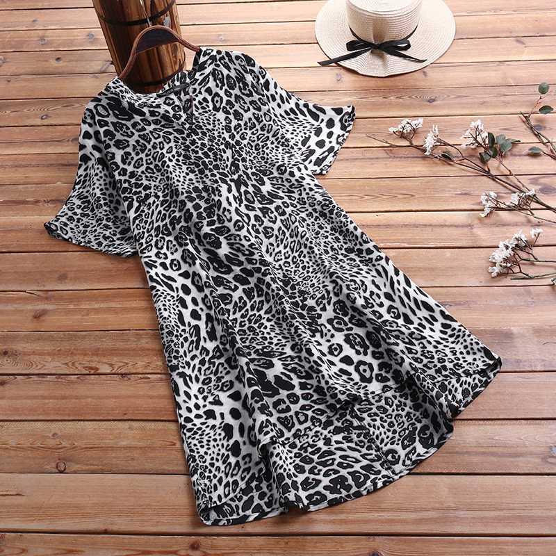 Sexy Leopard Printed Shirt Women's Asymmetrical Blouse ZANZEA 2020 Fashion V Neck Short Sleeve Tee Tops Plus Size Tunic Blusas 8