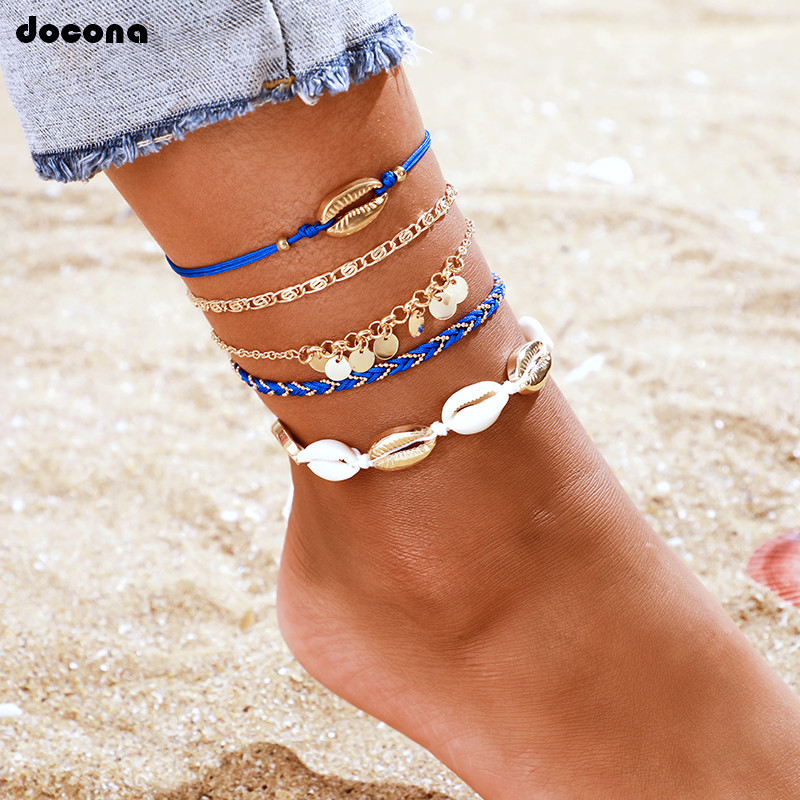 docona Boho Beach Shell Wafer Multilayer Anklet for Women Girl Blue Braid Chains Charm Anklets Foot Jewelry 5pcs/set 8799