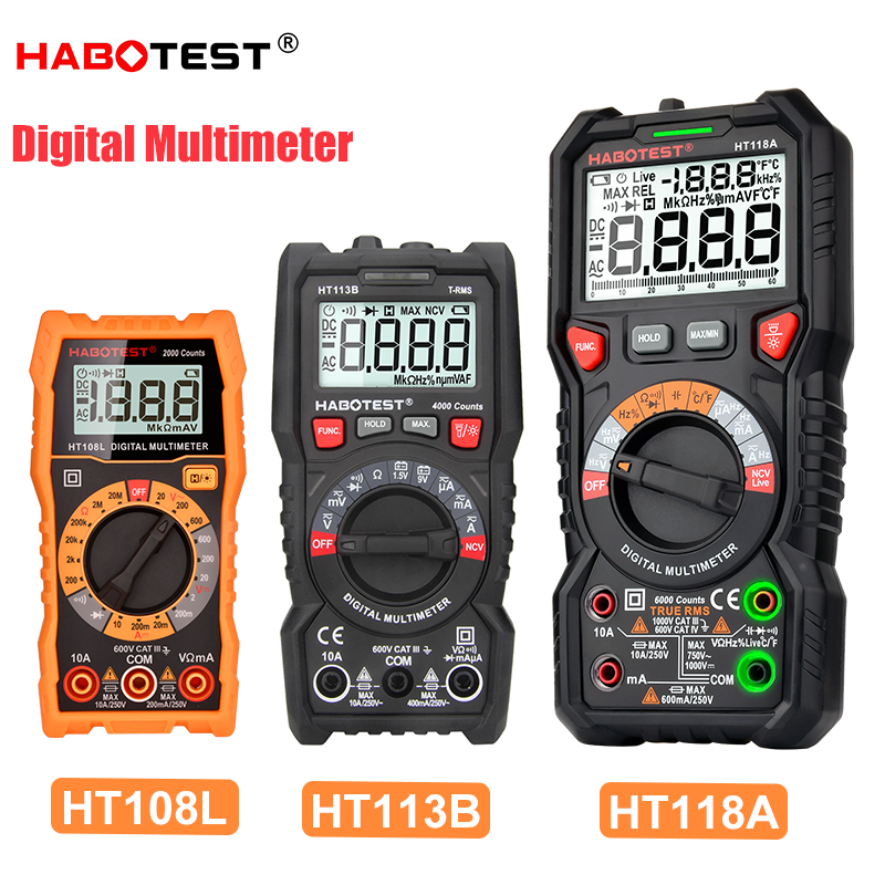 Digital Multimeter HABOTEST Voltage Current Tester Professional Automotive Multimeter High Accuracy Ohm Hz Capacitance Meter