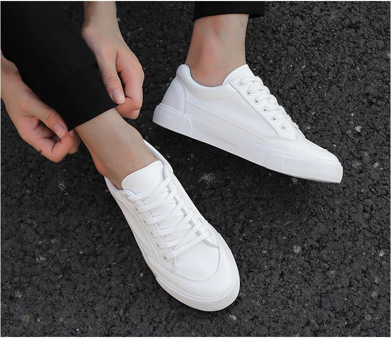 2020 New White Canvas Shoes Trend Men's Casual Platform Sneakers Simple Breathable Men's Flat Tennis Shoes Zapatillas Hombre