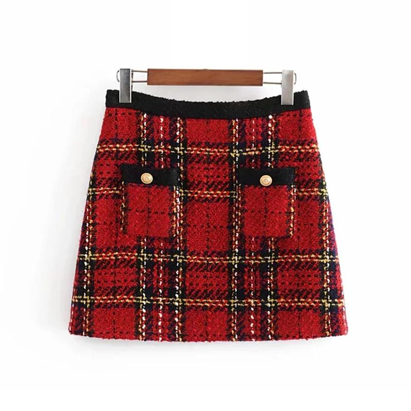 Red Vintage Women Tweed Mini Skirts 2019 Winter Fashion Ladies Plaid Skirt Female Patchwork Falda Girls High Waist Skirts Chic