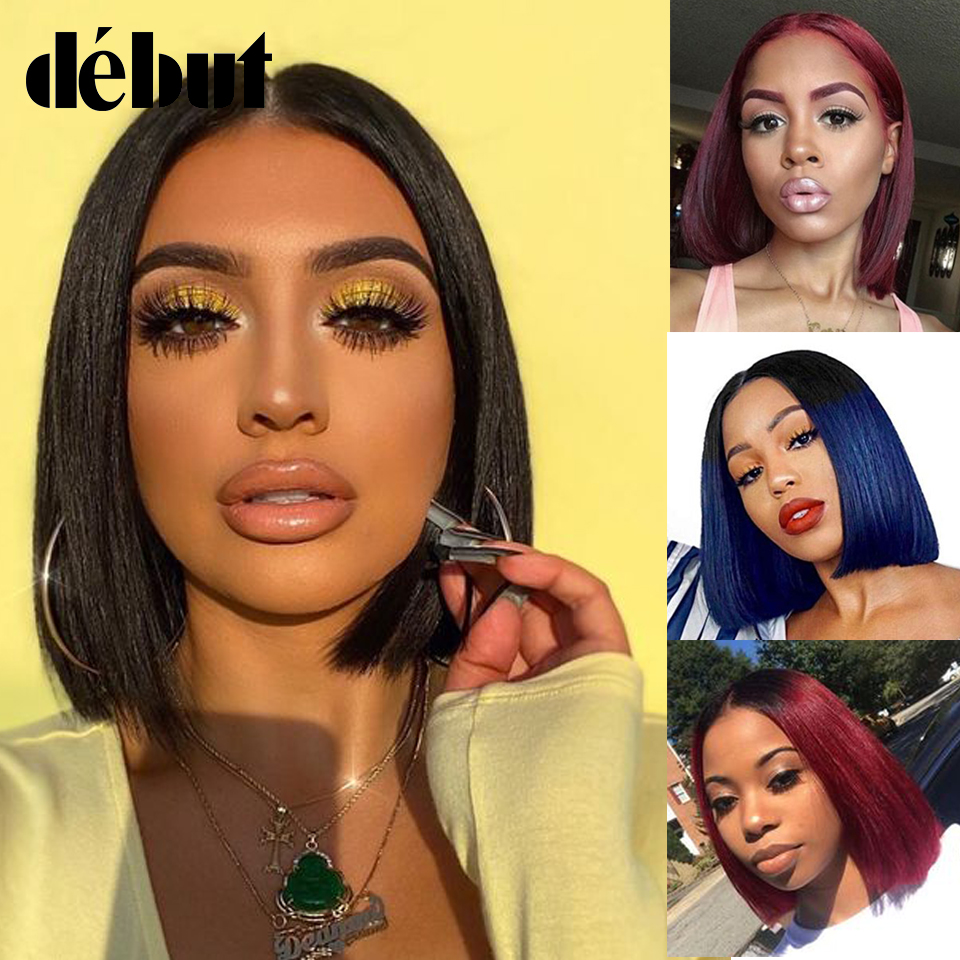 Black Human Hair Wigs Debut Straight Lace Part Human Hair Wigs For Women Lace Front Short Bob Wigs Blue Ombre Wigs Hair Exention