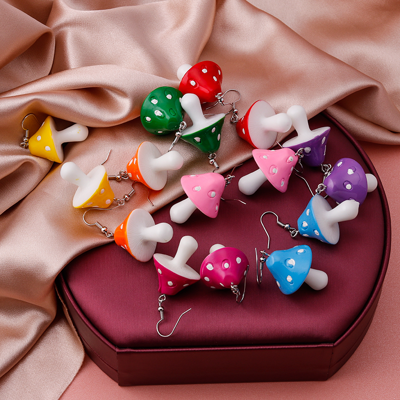Cute Plant Mushroom Earrings for Women, Cartoon Enamel 8 Color Dangles Earrings Girl Children Ear Hook DIY Party Jewelry Gifts