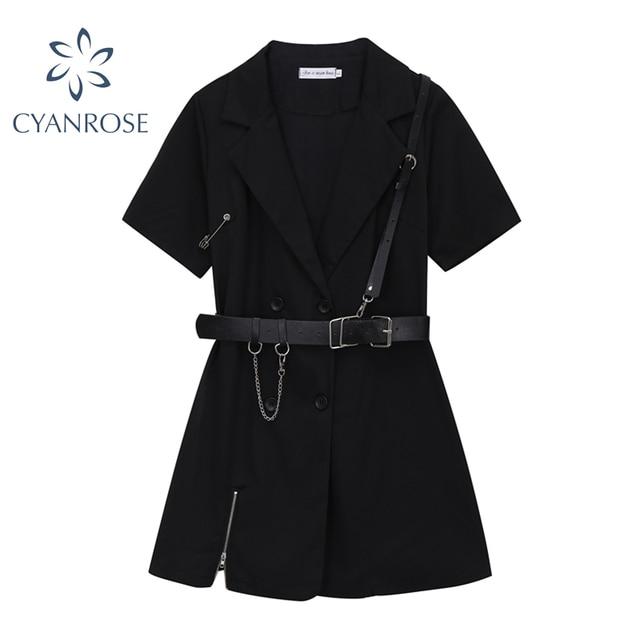 Gothic Punk Black Blazer Dress Short Sleeve 2021 Summer High Waist With Belt Streetwear Fashion Harajuku Goth Dress Girl 1
