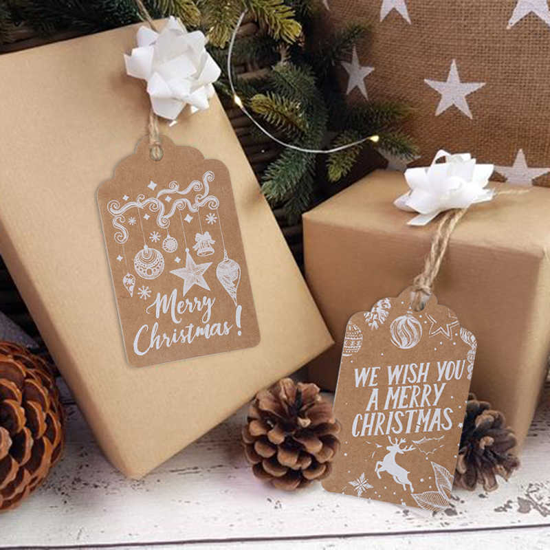 50Pcs Christmas Kraft Paper Price Label Tags Strings Hang Gift Xmas Party Craft