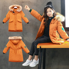 цена на New Girls clothing Kids Thicken Warm Coat Children Winter Girl Clothes Parka Real  Raccoon Fur Hooded Down Cotton Jacket 3-14Y