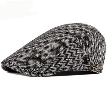 HT2577 Beret Cap Autumn Winter for Men Women Vintage Striped Hat Adjustable Ivy Newsboy Flat Retro Cabbie Berets