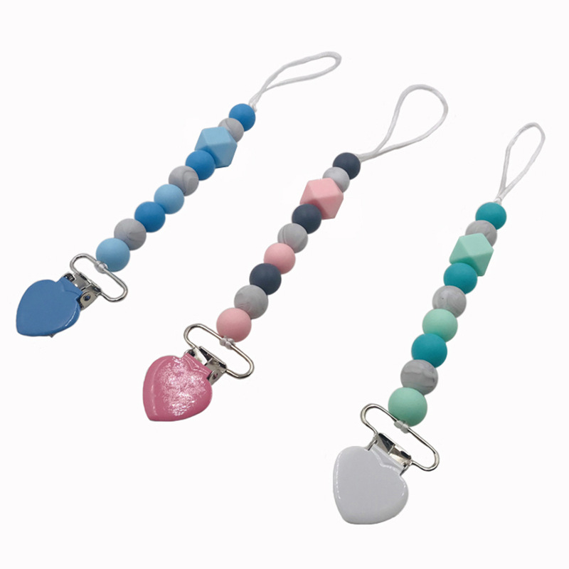Silicone Teething Pacifier Clips Beads Silicone Pacifier Chain Holder For Nipples Baby Chew Toys
