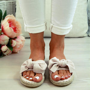 Ladies Slippers Bow Fashion Non-slip Slippers Shoes Women Comfortable Slippers Summer Outdoor Flat Sandals 2020