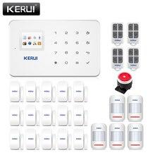 Kerui g18 aplicativos controlar sistema de alarme de segurança, residencial 433mhz gsm alarme anti roubo, detector de movimento casa