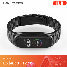 For Mi Band 5 Strap NFC Metal Stainless Steel For Xiaomi Mi Band 4 3 Strap Global Version Compatible Bracelet Miband Wristband