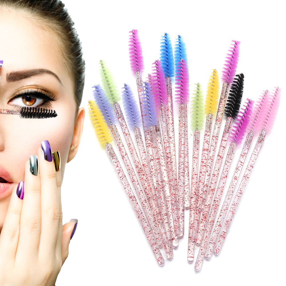 Eyes Dancing Disposable 50pc Crystal Eyelash Makeup Brush Diamond Handle Mascara Wands Eyelash Extension Tool Eye Lash Curling