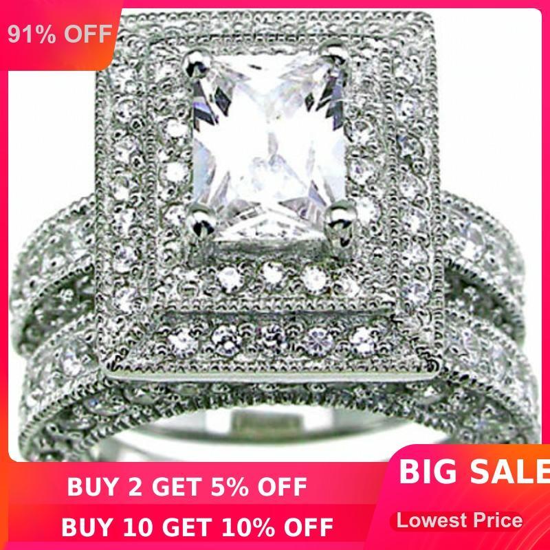 choucong Vintage 2-v-1 zaročni pas 139pcs kamen 5A cirkon kamen 14KT belo zlato napolnjen poročni prstan set Sz 5-11