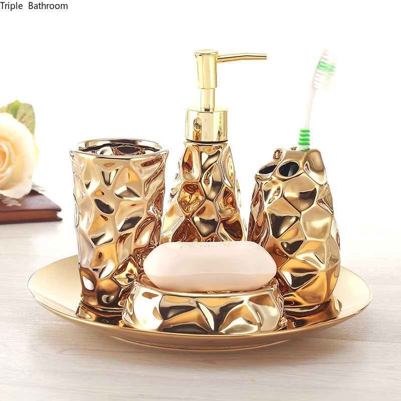 Ceramic bathroom set four-piece Gold tooth brush holder Soap Dispenser soap box bathroom decoration accessories Wedding gifts