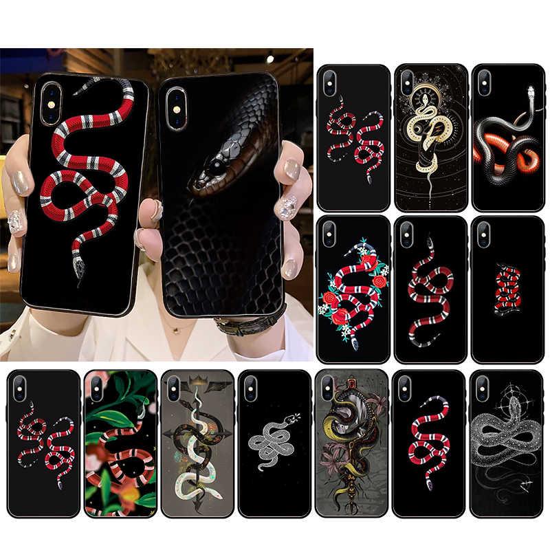Di lusso di marca di serpente a forma di Cassa Del Telefono molle del silicone soft shell nero Per iphone 5 5S SE 5C 6 6S 7 8 più di X XS XR 11 PRO MAX