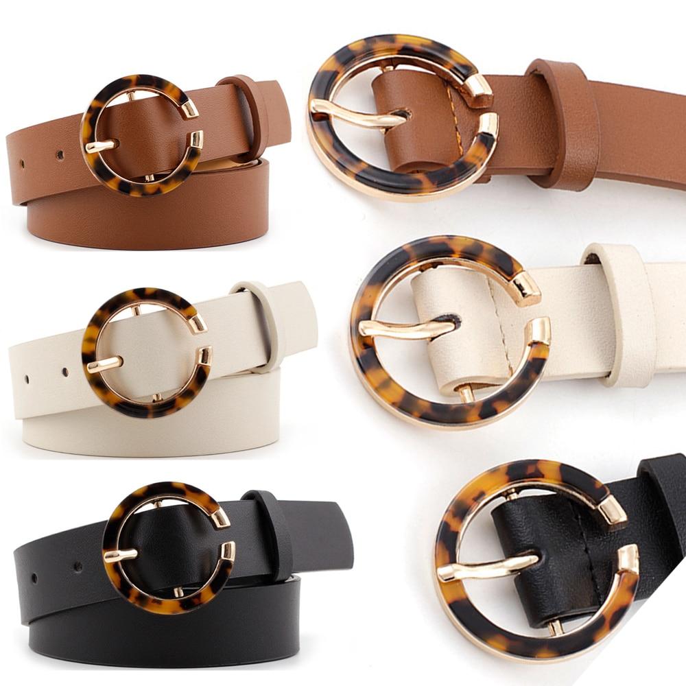 Female Deduction Side Gold Buckle Jeans Wild Belts For Women Leopard Print Women Waist Belts Heart Pin Buckle Belt