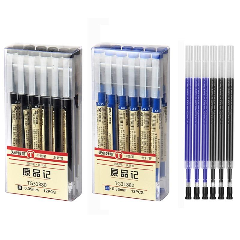 0.35mm Fine Gel Pen Blue/Black Ink Refills Rod for Handle Marker Pens School Gelpen Office Student Writing Drawing Stationery 1