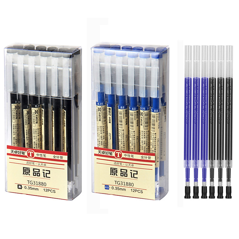 0.35mm Fine Gel Pen Blue/Black Ink Refills Rod for Handle Marker Pens School Gelpen Office Student Writing Drawing Stationery