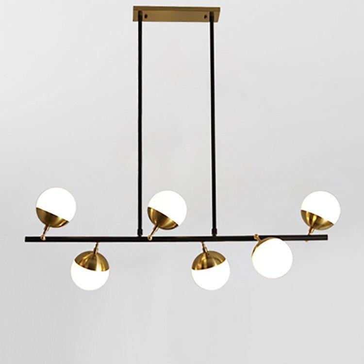 Nordic wrought iron chandelier postmodern electroplating gold bronze geometric line pendant lamp bedroom dining room suspension|Pendant Lights|   - title=