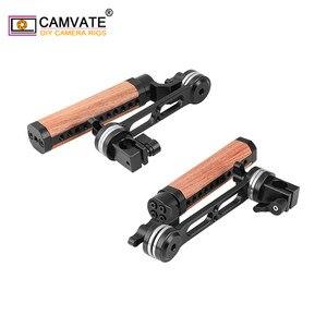 Image 5 - Camvate 2 peças câmera alça de madeira ajustável aperto com roseta arri m6 rosca de montagem & 15mm única haste braçadeira & extensão braço
