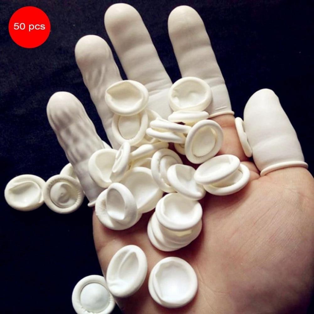 50PCS/SET Natural Latex Anti-Static Finger Cots Practical Design Disposable Makeup Eyebrow Extension Gloves Tools Wholesale