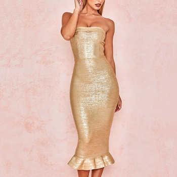 Adyce 2019 New Summer Women Gold Bandage Dress Vestido Sexy Sleeveless Strapless Club Dress Elegant Celebrity Runway Party Dress - DISCOUNT ITEM  49% OFF All Category