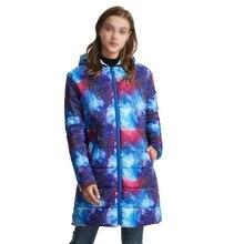Зимняя женская куртка, плюс размер, парка, верхняя одежда, цветной космический Принт, пальто с капюшоном, длинное, свободное, складываемое пальто