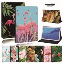 Untuk Huawei MediaPad T3 8.0 /T3 10 9.6 /T5 10 Kulit Tablet Stand Folio Cover-Flamingo Tablet stand Case Untuk Honor Play Pad(China)