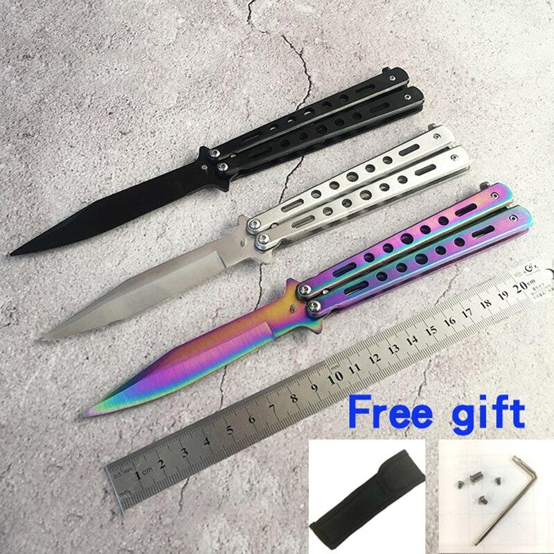 Edelstahl CS GEHEN Ausbildung Messer titanium messer Schmetterling in messer für geschenk + tasche + schraubendreher + gescheut schrauben