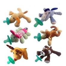 24 seleção animal bebê menino menina manequim chupeta clipe de corrente de pelúcia brinquedos animais soother mamilos titular