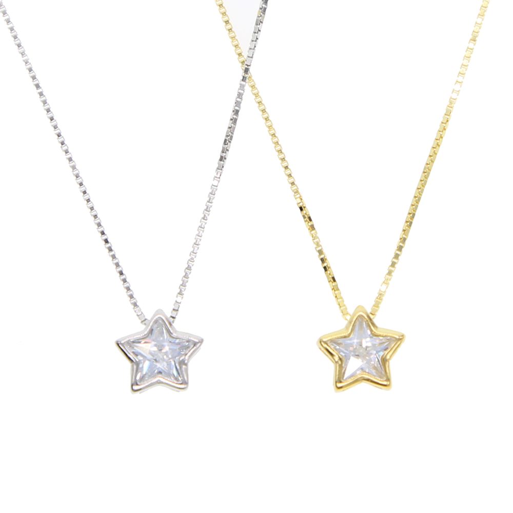 2020 New 925 sterling silver simple Cute tiny cz Star charm Pendant Chain Necklace 2 color for women wedding gift