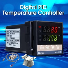 New Intelligent Temperature Controller Kit Alarm REX-C100 110-240V 0-1300 Degree Digital PID With K Type Probe Sensor