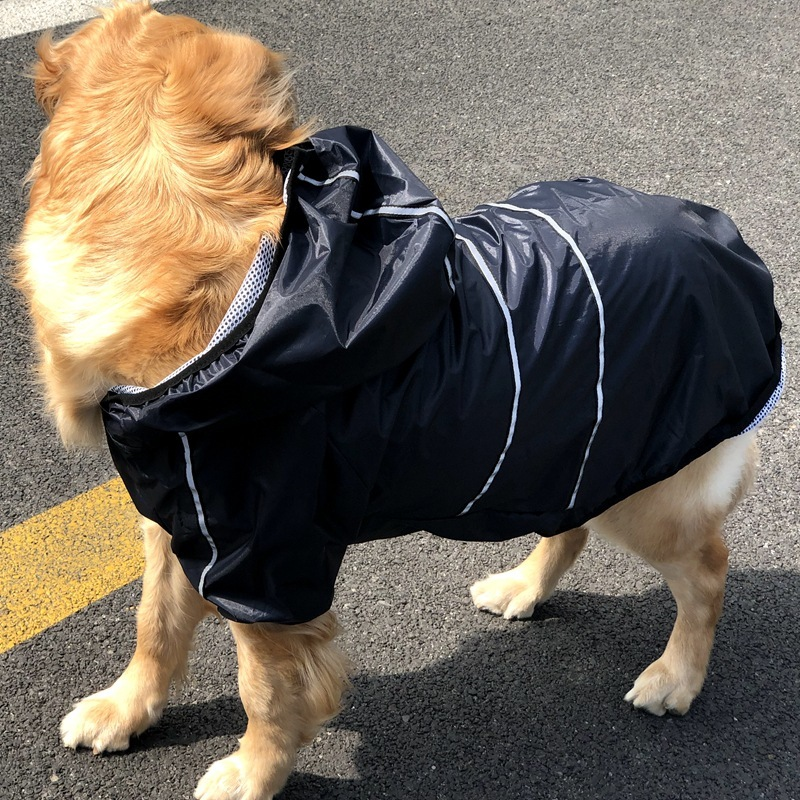 Waterproof Pet Large Dog Raincoat Big Dog Clothes Outdoor Coat Rain Jacket Reflective Medium Large Dog Poncho Breathable Mesh