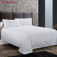 1PCS Satin Cotton Bed Sheets 40S/60S/80S White Hotel Bed Linen Full Queen King Size For Boy Kids Single Hotel Bedding sabanas