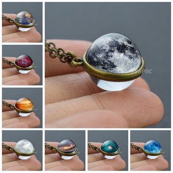 Full Moon Sphere Crystal Ball Glass Necklace Handmade Double Side Glass Ball Pendant Solar System Outer Space Astronomy Jewelry 2019 new dream nice nebula necklace various galaxy space pattern glass alloy necklace pendant solar system popular jewelry