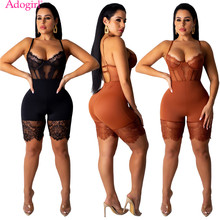 Adogirl Sheer Spitze Patchwork Spaghetti-trägern Overall Frauen Sexy Bustier Shorts Jumpsuit Nacht Club Party Bodys(China)
