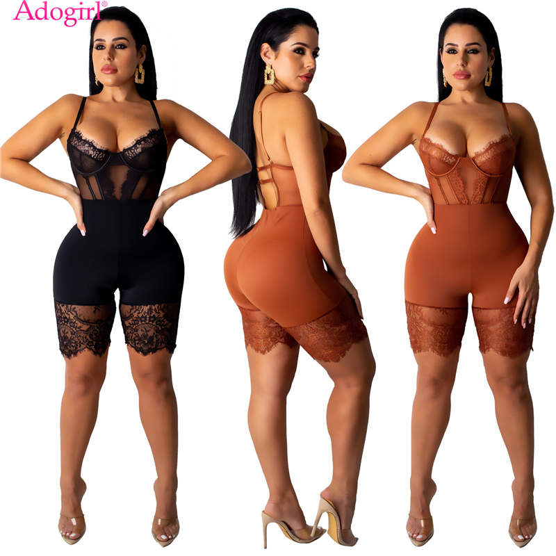 Adogirl Sheer Lace Patchwork Spaghetti Straps Playsuit Women Sexy Bustier Shorts Jumpsuit Romper Night Club Party Bodysuits