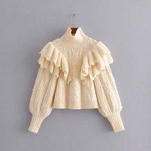 Однотонные ниспадающие свитера с оборками для женщин, модный свитер с высоким воротом, женские элегантные свитера с пышными рукавами для женщин