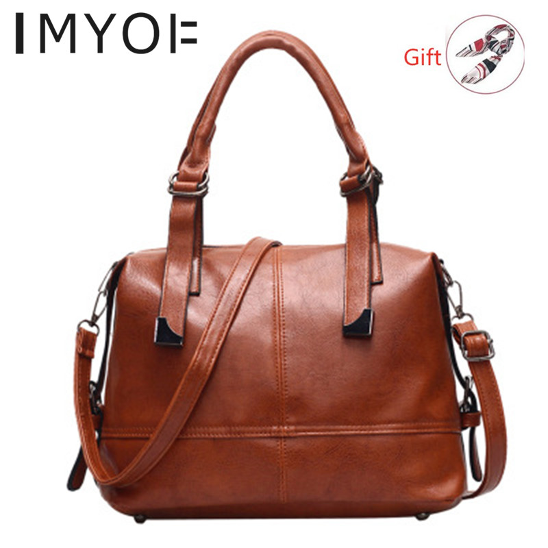 IMYOK Soft PU Leather Women Bags New Large-capacity Single Shoulder Messenger Bag Boston Ladies Hand Bags For Women 2019