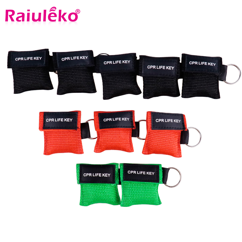 50PCS Portable New Resuscitator CPR Mask Keychain Emergency Face Shield First Aid CPR Mask For Health Care Tools 3 Colors