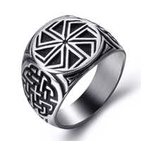 Edelstahl Viking Ring für Männer Kolovrat Schild Knoten Slawischen Amulett Pagan Solar Symbol Rad Nordic schmuck