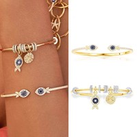 New Solid 925 Sterling Silver Gold Color Lucky Fish Open Cuff With Sliding Rings Charm Bangle Bracelet Women Jewelry