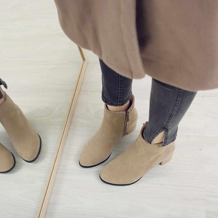 Große Größe 9 10 11-15 stiefel frauen schuhe stiefeletten für frauen damen stiefel schuhe frau winter Seite zipper mit willow taste